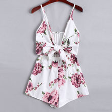 Sweet Elegant Playsuit Women Lace Up Bow Floral Print Summer Beach Boho Sleeveless Sling Loose Short Jumpsuit Buzos Mujer(China)