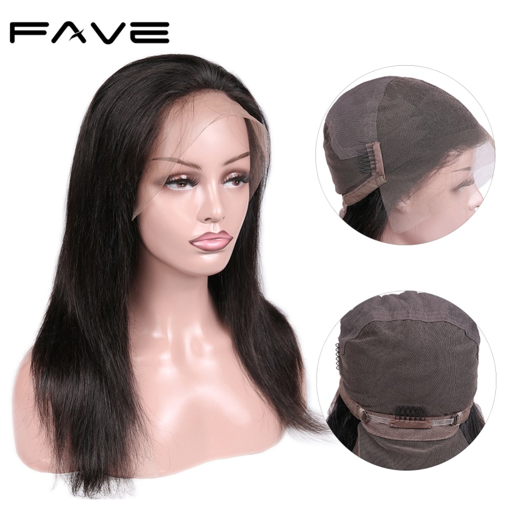 Full Lace Human Remy Wig 150% Density Brazilian Straight Hair Wig 8-22 Inches For Black Women Fast Shipping FAVE Hair