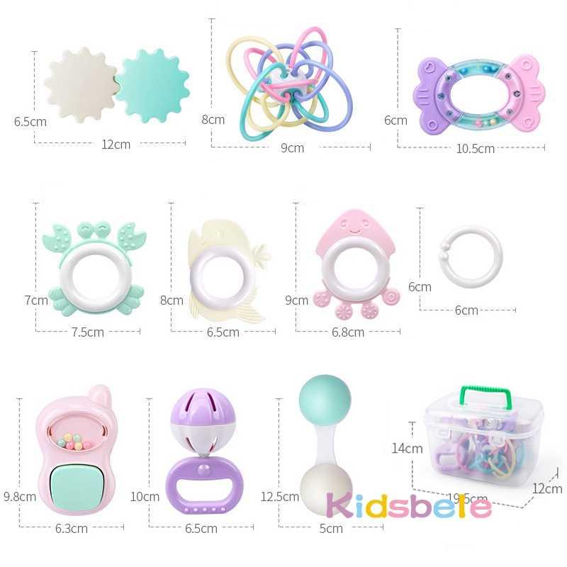 9PCS Rattle ของเล่นเด็ก 0-12 เดือน Jingle สั่นกระดิ่งทารกของเล่นสำหรับทารกแรกเกิด Rattles Teether Grip Handbell ของเล่นกล่อง