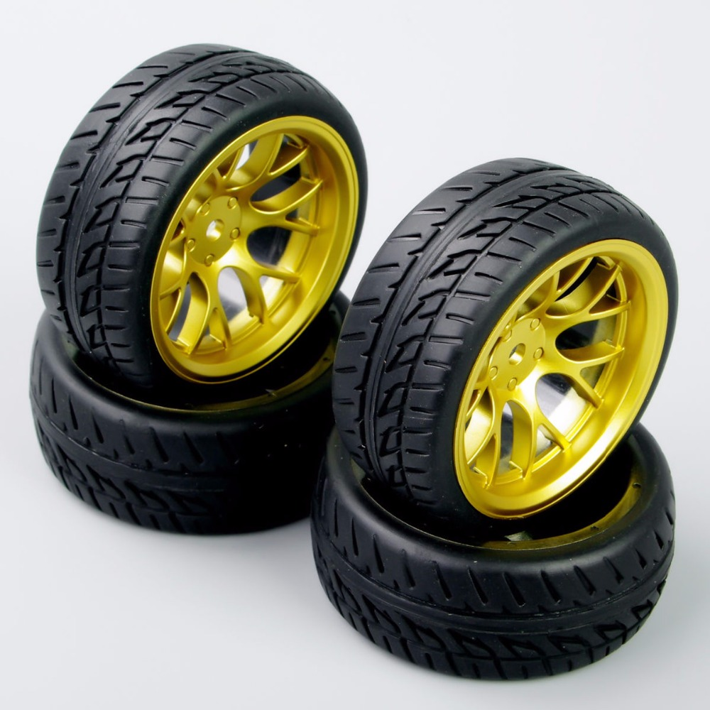 DHG PP0150 4Pcs Set 1 10 Scale Tires and Wheel Rims with 12mm Hex fit On Road RC Car Accessories in Diecasts Toy Vehicles from Toys Hobbies