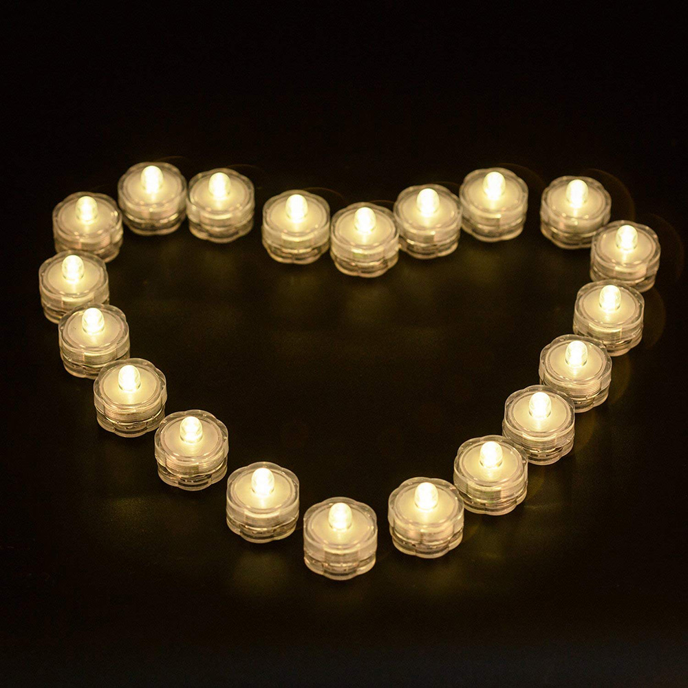 12pcs/lot Submersible LED Lights Waterproof Wedding Underwater LED Tea Lights Candles For  Vase/Centerpieces/Party/Christmas