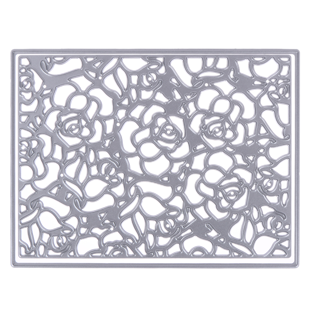 2017 New Flower Pattern Frame Ectangle Embossing Cutting Dies Stencil DIY Scrapbooking Album Crafts Paper Crad