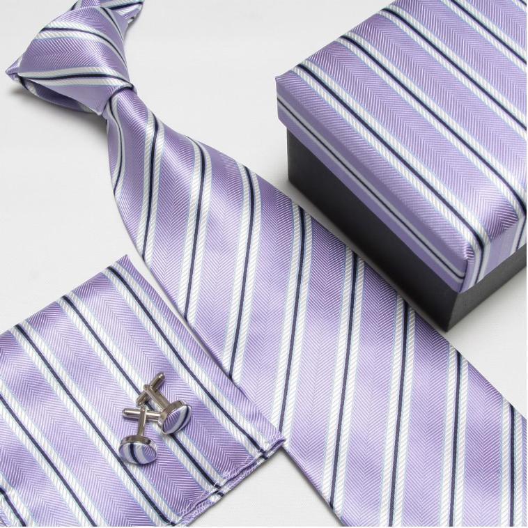 Мужская мода высокого качества полосатый набор галстуков галстуки Запонки hankies шелковые галстуки Запонки карманные носовые платки - Цвет: 19