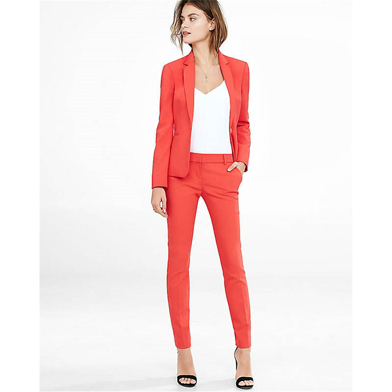 New Women Pant Suits Formal Working Wear Womens Long Sleeve Blazer with Office Pants Plus Size Orange Suit CUSTOMIZED