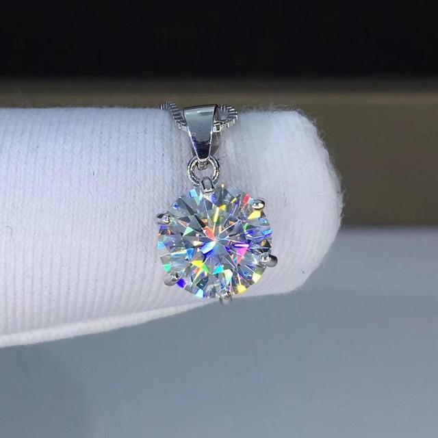 Gümüş 925 takı yuvarlak moissanite kolye 1.00ct D VVS 925 gümüş kolye klasik altı pençe kolye kadınlar için
