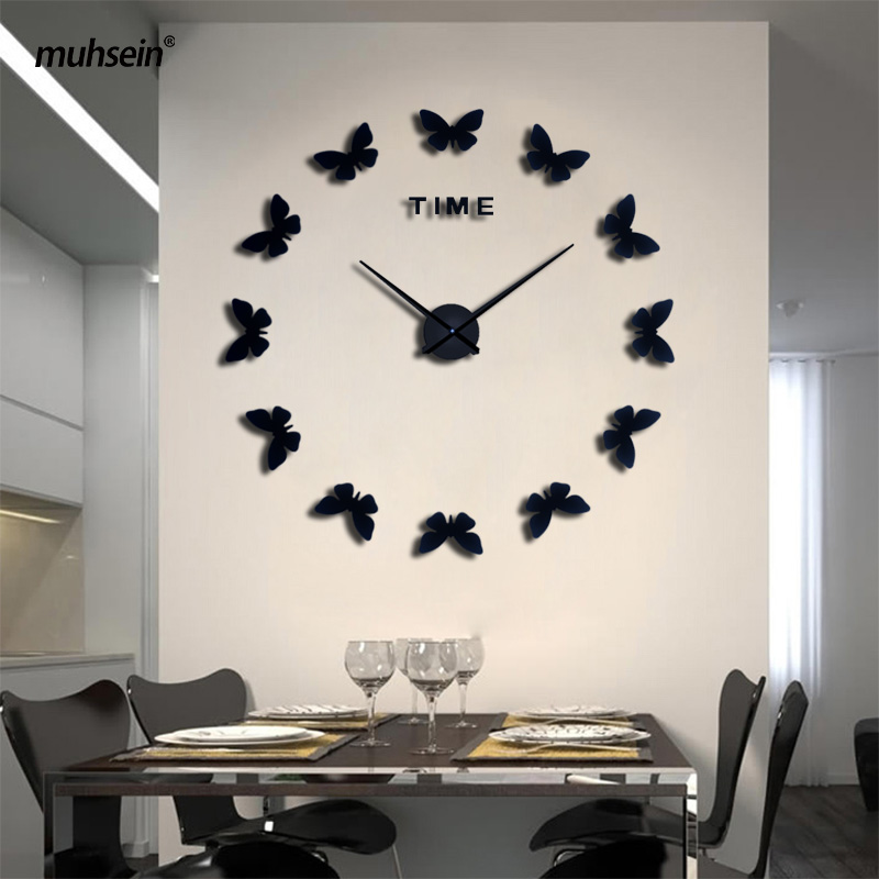 2017 New large wall clock sticker decorative wall clocks modern design wedding decoration Home saat 3d wall clock  Free shipping