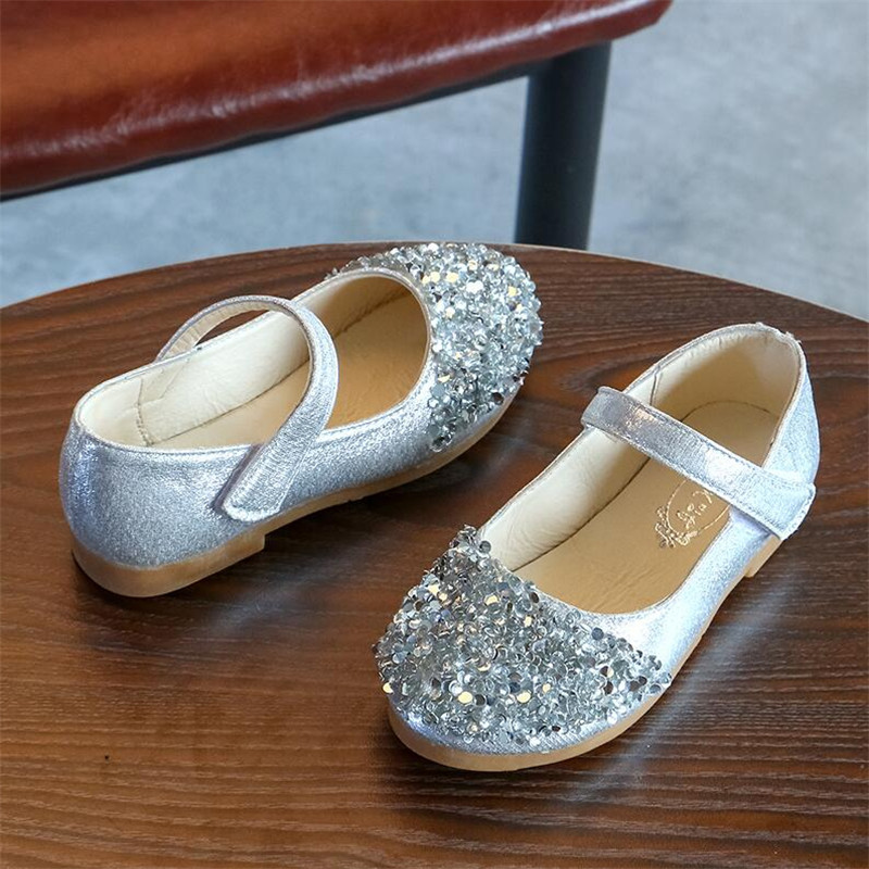 Girls Sandals Sequins Bling Girls Princess Shoes Gold Pink Sliver Leather Girls Kids Shoes For Dance Party Princess Girl Shoes