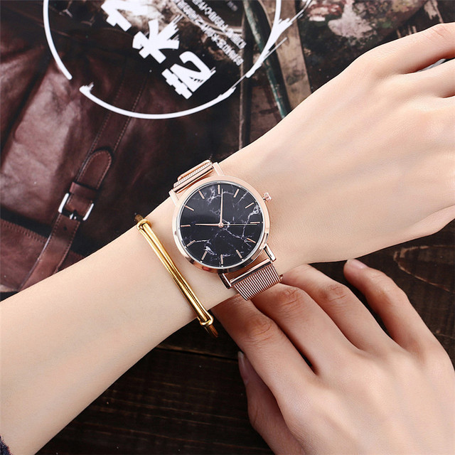 Vansvar Brand Fashion Silver And Gold Mesh Band Creative Marble Wrist Watch Casual Women Quartz Watches Gift Relogio Feminino 4