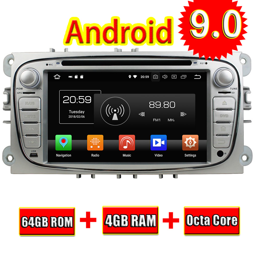 Topnavi Android 9.0 Auto GPS Navigation Für Ford S-max 2008-2010 Mondeo 2007-2010 Tourneo Connect Transit verbinden 2010 DVD Player