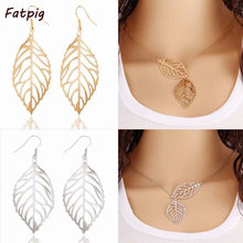 New Design Leaves Shape Yellow Color Hollow Dangle Drop Earrings Necklace Jewelry Sets For Women Hot Sale(China)