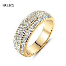 GULICX Shining Three Rows Crystal CZ Zirconia Rings for Women Gold color Finger Band Rings For