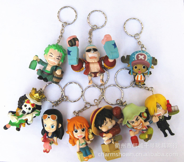9pcs/set One Piece Zoro Frank Luffy Brook Chopper Robin Nami Sanji Anime Keychain Collectible Action Figure PVC Collection toys