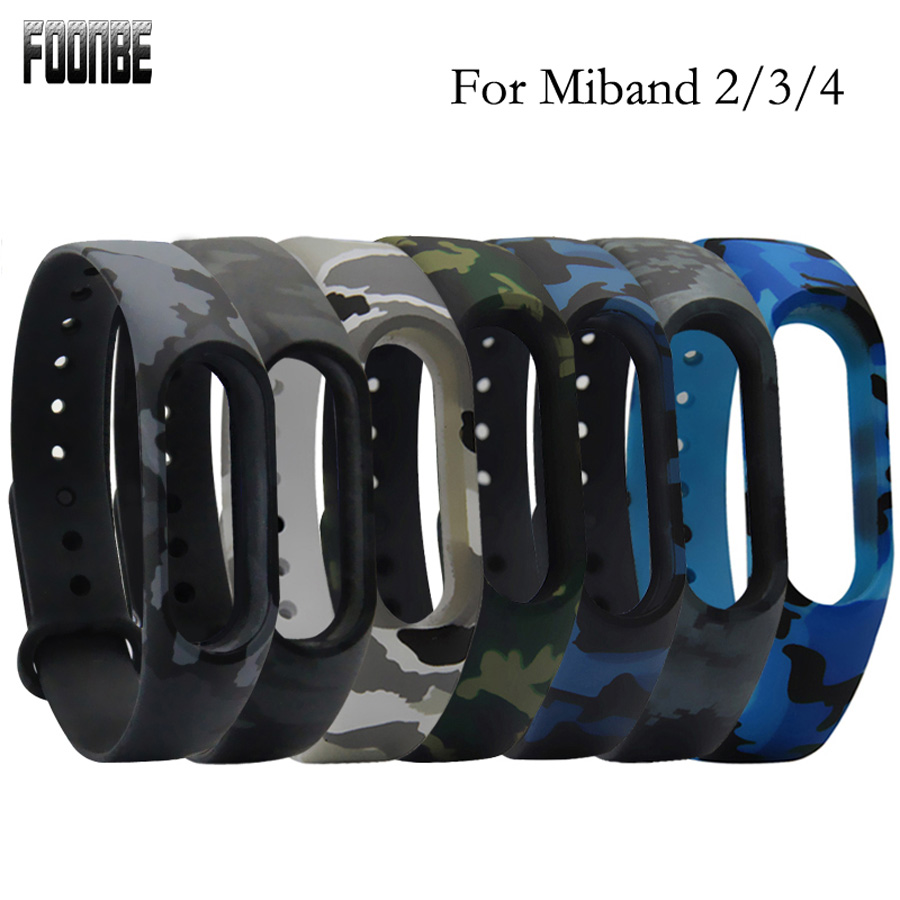 Camouflage For Mi Band 2 3 4 Strap Replace Band For Xiaomi 3 4 Smart Wristband Silicone Strap Belt For Miband 4 3 2 Bracelet