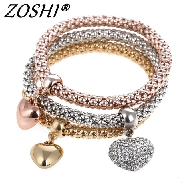 3 Pcs/Set Crystal Owl Heart Charm Bracelets & Bangles Gold/Silver Alloy Elephant Anchor Pendants Rhinestone Bracelets For Women