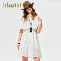 Bohoartist Hollow Out Dress Women White Plain O-Neck Knee Length Summer Women Dress A-line Puff Sleeve Pullover Patchwork
