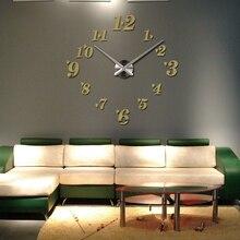 2015 new acrylic wall clock quartz watch living room modern 3d mirror stickers reloj pared horloge large decorative diy clocks