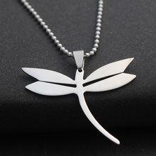 stainless steel flying dragonfly charm pendant necklace small insect animal beneficial girl jewelry