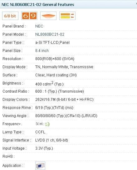 NL8060BC21-02 8.4 นิ้ว LCD - เกมและอุปกรณ์เสริม