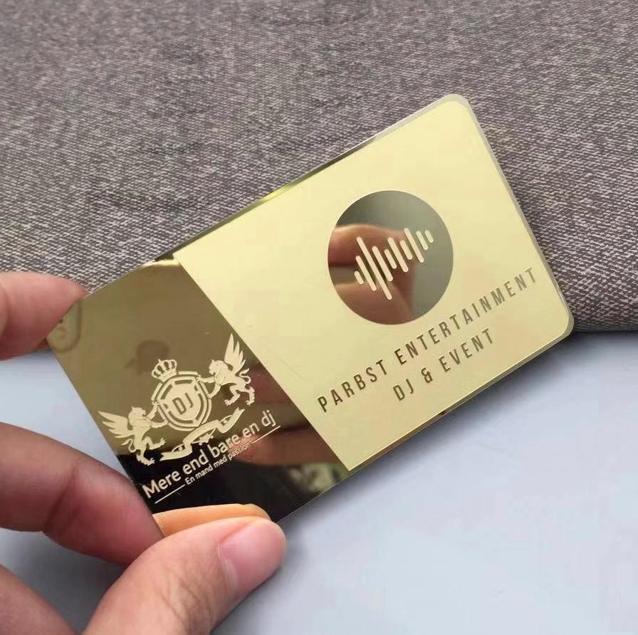 Electroplating Gold Metal Membership Card Stainless Steel Mirror Card  Personality Mirror Metal Card