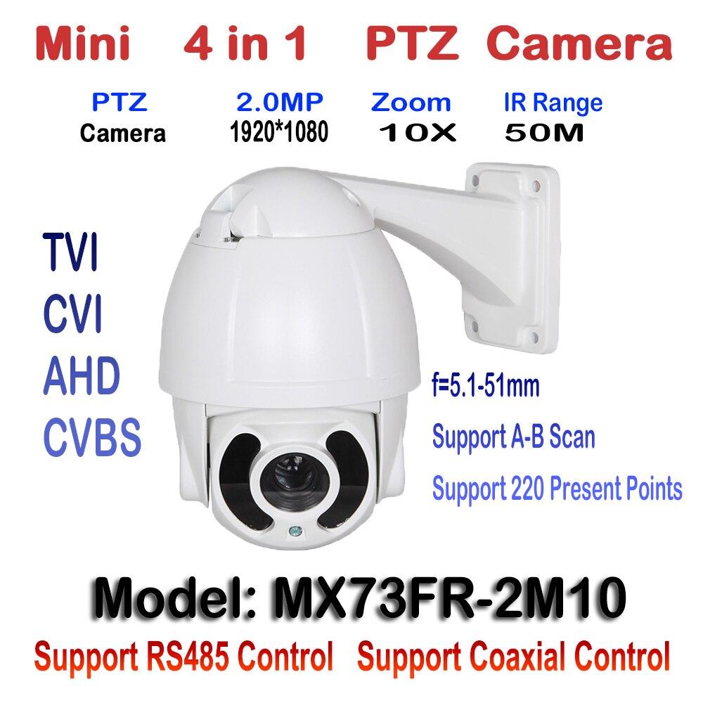 2MP 1080 P Sorveglianza PTZ IR Telecamera Speed Dome 10X Ottico Zoom CVI AHD TVI CVBS Menu OSD Trasferimento HD Coassiale controllo/RS485