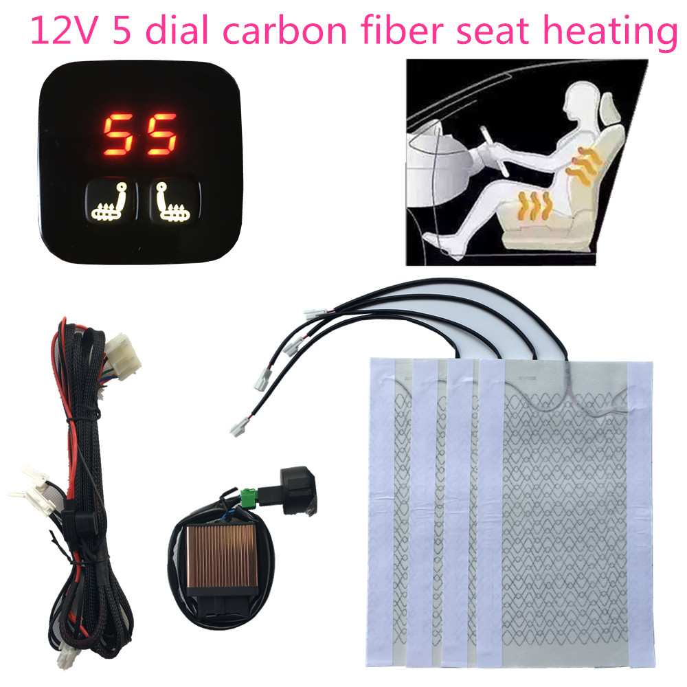 New 5 dial seat heated swtich 4 heated pad kit for driver and passenger installed warm