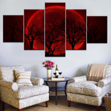 Home Decor Living Room Wall HD Printed Pictures 5 Panel Red Moon Sky Forest Landscape Art Painting Modular Canvas Poster Frame