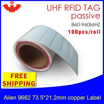 UHF RFID тег EPC 6C стикер Alien 9662 для печати медные наклейки 915mhz868mhz Higgs3 100 шт. Бесплатная доставка клей пассивный RFID lab