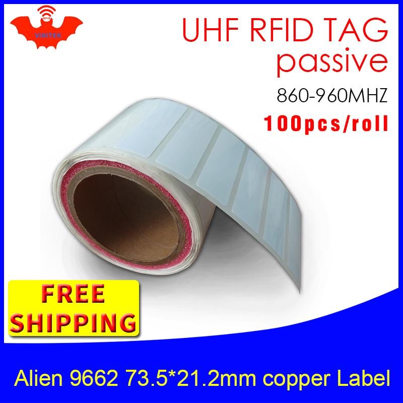 UHF RFID Tag EPC 6C Sticker Alien 9662 Printable Copper Label 915mhz868mhz Higgs3 100pcs Free Shipping Adhesive Passive RFID Lab