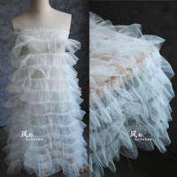 1 Yard sweet sweet design 3d lace fabric net tulle mesh lace off white color! 2018 NEW girls clothing making diy lace embroidery