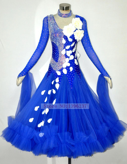 4dad78eb5432 Women's Ballroom Dance Dress Royal Blue High Quality Custom Made Waltz  Flamenco Ballroom Competition Dance Dresses