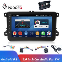 Podofo Android 8.1 Car Multimedia Player For VW 8 inch 2 Din Car Radio GPS Navigation Autoradio DVD Player WIFI Bluetooth Stereo