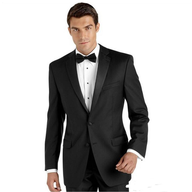 Classic high-quality mens suit black lapel single-breasted mens prom dress and business office suite (jacket + pants) custom