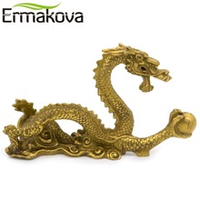 ERMAKOVA 12cm(4.7″)Chinese Ancient Mascot Copper Dragon Sculpture Art Craft Home Dragon Statue Office Oranment Decor Collection