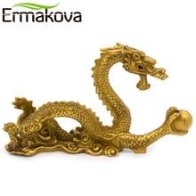 ERMAKOVA 12cm(4.7″)Chinese Ancient Mascot Copper Dragon Sculpture Art Craft Home Dragon Statue Office Oranment Decor Collection