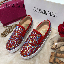 Genuine Leather Women Loafers Casual Shoes Woman Flats Fashion Rhinestone Slip On Round Toe Female Shoes Spring Summer New DE стоимость