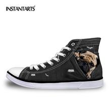 INSTANTARTS Personalized Men Canvas Shoes Fashion High Top Men's Lace Up Vulcanize Shoes Cool Black Denim Dog Print Brand Shoes