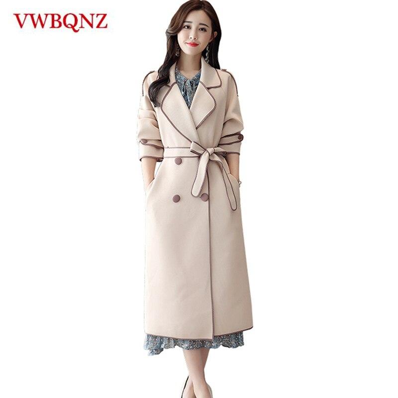 Female Windbreaker 2018 Autumn Winter Women Elegant Temperament Long   Trench   Coat High-end Casual Lady Belt Windbreaker Overcoat