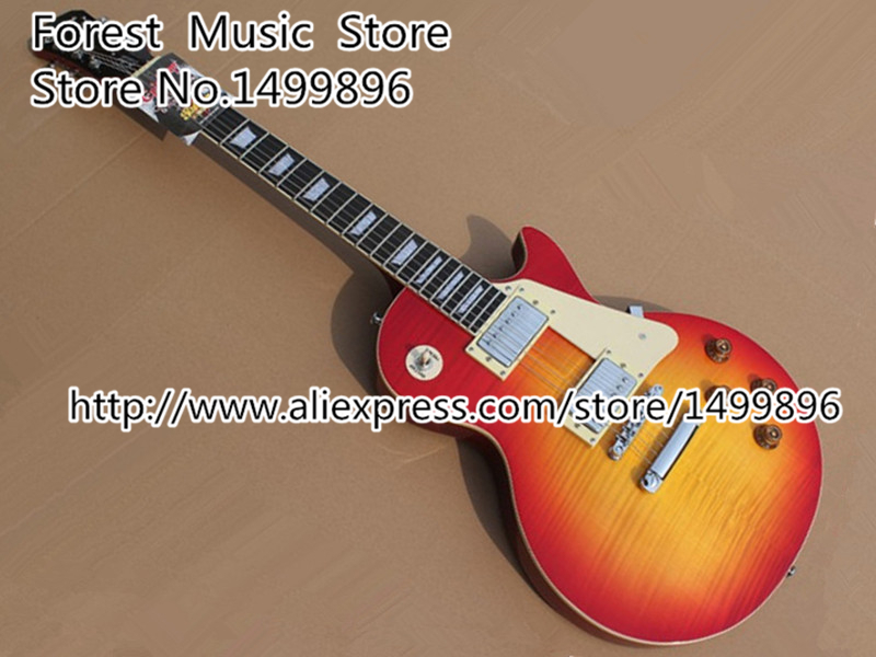 Wholesale & Retail Cherry Sunburst Tiger Flame Electric Guitar China OEM Lefty Custom Available high quality musical instrument cherry sunburst classical hollow guitar body es jazz guitars china lefty available