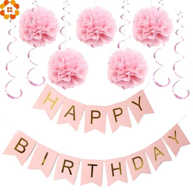 paper decoration set happy birthday banner foil swirls pom poms for