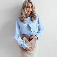 2017 Women Ruffle Pocket Blouse Long Sleeve Front Ruffle Pocket O Neck Elegant Casual Blouse Office
