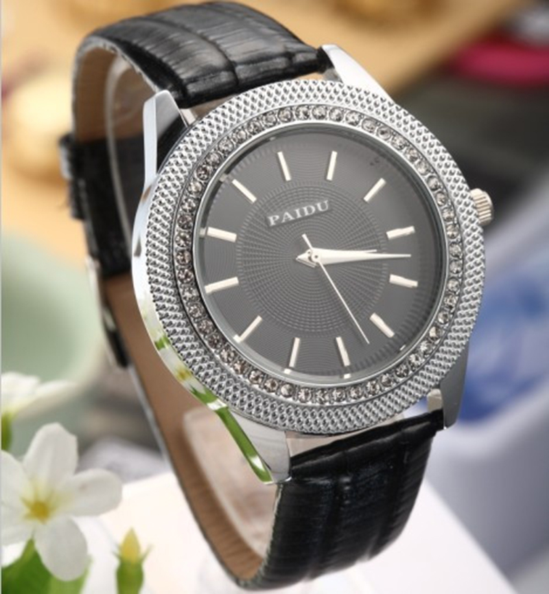 2017 PAIDU Brand High Quality Fashion and Causal Wrist Watch Men and Women Dress Black White Leather Watch