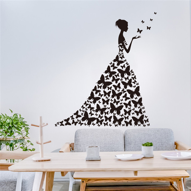 Butterfly Wedding Dress Girl Wall Stickers For Kids Rooms