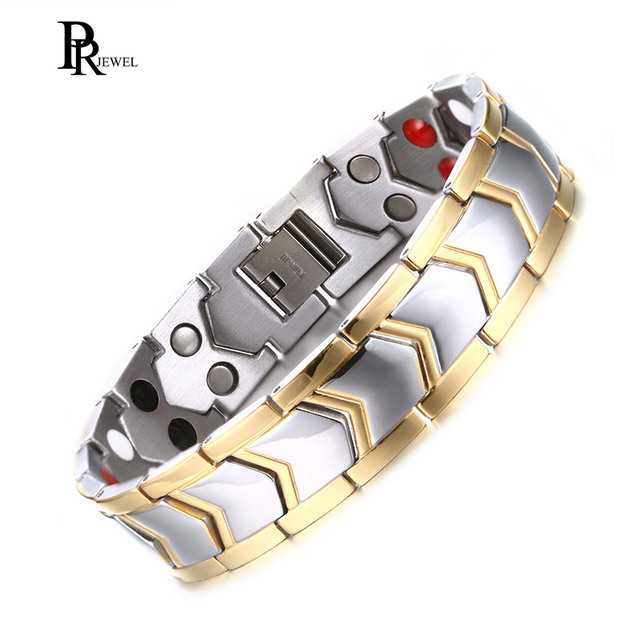 Double Strength 4 Element Magnetic Therapy Bracelet For Arthritis Pain Relief Stainless Steel Chain