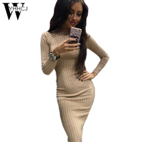 WYHHCJ 2017 Women S Autumn Spring Dresses Robe Sexy Black Midi Sheath Slim Bodycon Dress Long