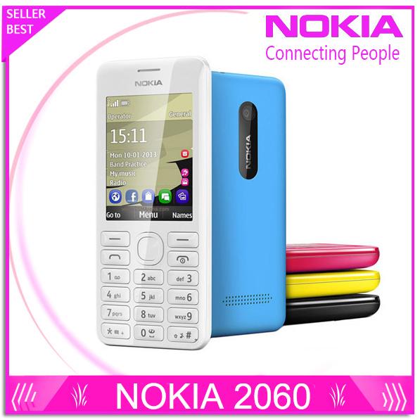Envío gratis original reformado desbloqueado teléfono nokia 206 2060 doble tarjeta sim del teléfono móvil reproductor de mp3 cámara de $ number mp