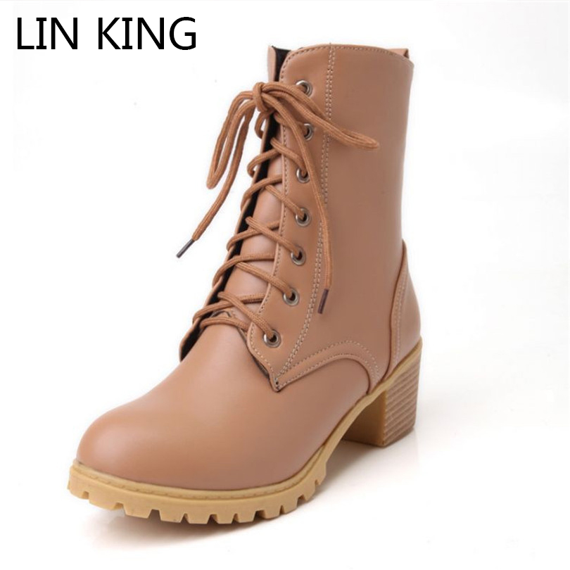 LIN KING Spring Retro Lace Up Women Motorcycle Boots Fashion Square Thick Heel Martin Boots Punk Woman Short Shoes Plus Size euro style spring autumn women ankle boots platforms square heel ankle boots lace up fashion motorcycle boots martin shoes