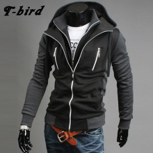 T bird Men's Hoodies Moleton Masculino Casual Cardigan Men Hooded Fake Two Layer Zipper Hoodies Sweatshirt Male Hoody Cotton XXL