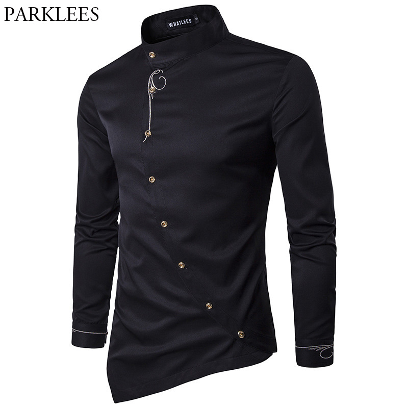 Stickerei Shirt Männer 2017 Brand New Long Sleeve Mens Dress Shirts Beiläufige Slim Fit Button Down Chemise Homme Camisetas Hombre