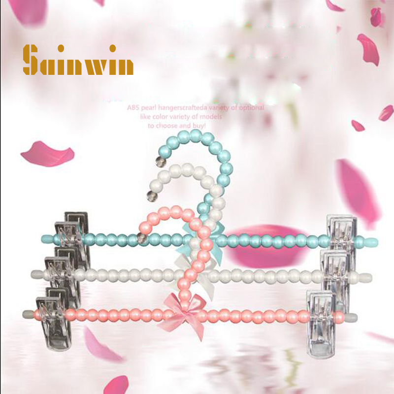 Sainwin 10pcs lot 30cm Plastic pearl hanger multifunctional pants clip thickening overstretches pants clip slip resistant