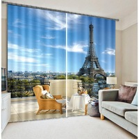 Eiffel Tower Beach sea 3D Photo Printing Blackout Curtains For Living room Kids Bedding room Drapes Cortinas para sala Tapestry